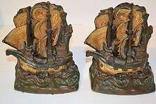 Antique Armor Bronze Invincible Armada Nautical Sea Ship Art Sculpture Bookends