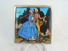 ART DECO BUTTERFLY WING PICTURE POWDER COMPACT NEAR MINT PAT NO. C1923