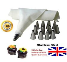 14 NOZZLE ICING PIPING CAKE CUPCAKE DECORATING  SET & COTTON BAG SUGAR CRAFT CUP