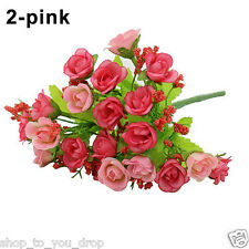 Pink Rose Bunch 21 Head Artificial Flowers Party Vase Display Decor Home Wedding