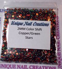 Solvent Resistant STAR 2 MM Copper/Green Color Shift ~ Nail Art~ USA