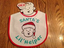 Baby Bib Santa's Lil Helper White With Red Trim By Baby Talk
