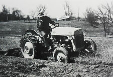 "12 By 18"" Black & White Picture Ford Tractor ""8N"" plowing"
