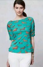 Anthropologie Postmark Here & There Tee Dogs Dachshund Med Green Cotton Ruched