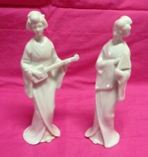 "Two White Porcelain 2 Geisha Girls Playing Instument & Fan 6 1/2"" Japan EUC"