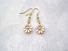 PINK DAISY FLOWER Gold Plated Drop Earrings VINTAGE STYLE Kitsch Cute Ditsy