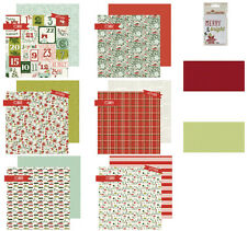 6 Shts 2 Sided My Mind's Eye Cozy Christmas Cardstock+2 Dotted+3x4 Journal Cards
