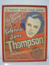 Vintage Original 1936 Big Band Jazz Swing Era Glenna Jane Thompson Poster