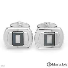 New Dolan Bullock Cuff Links w/Hematite & Mother of Pearl in 925 Sterling Silver