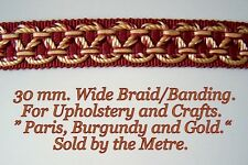 "Burgundy and Cream, ""Paris""  Upholstery Braid/Banding 1.1/4"" (30 mm.) wide."
