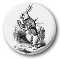 "WHITE RABBIT - 25mm 1"" Button Badge - Novelty Cute Alice in Wonderland"