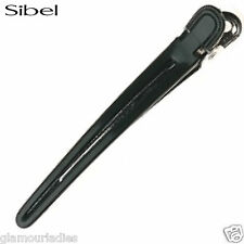 Sibel 12x Black Aluminium & Nylon Duck Hair Clips Hairdressing Sectioning Clamps
