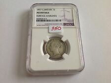 1857 Great Britain Shilling Ngc Au Details Surface Hairlines