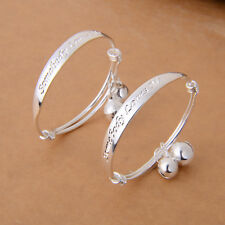2pcs Jewelry Silver Bady Child Bell Bangle Bracelet Words Carved Jewelry