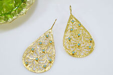OttomanGems semi precious gem stone gold plated Filigree earrings Turquoise