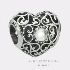 Authentic Pandora Silver April Signature Heart Rock Crystal Bead 791784RC