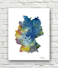 GERMANY MAP 2 Contemporary Watercolor 11 x 14 Abstract ART Print by Artist DJR