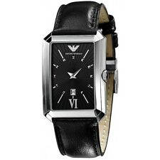 NEW-EMPORIO ARMANI BLACK LEATHER BAND+SILVER TONE,SUNRAY BLACK DIAL WATCH AR0459
