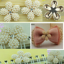 2 x 25mm Gold Alloy Ivory Pearl flower cabochons - DIY phone decor/shoes/cards