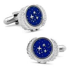 Star Trek UFP Logo United Federation of Planets Cufflnks- Blue and Silver Color