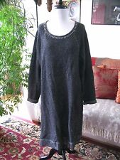 J JILL sz L Charcoal Gray Textured Wool Blend Sweater Dress