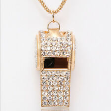 LadiesTrendy Jewelry Pendant Gold Plated Crystal Chain Whistle Necklace Charm