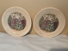 Vintage Victory By Salem China Co. Godey Prints Dessert- Collector Plates- Beige