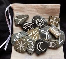 13 Witches Runes & Pouch. Cornish Sea Stone Rune Set. Pagan Witch Wicca Faerie