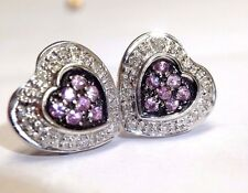Sweet Pave Diamond and Pink Sapphire 18K White Gold Heart Earring Studs