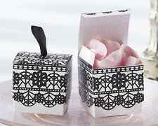 Romantic Garden Black Lace Print Wedding Bridal Shower Favor Boxes 24/pk