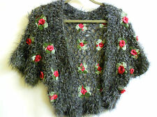 3D Flowers Hand Made Knitted Faux Mohair Bolero Sweater Shrug Gray Pink  S / M ?