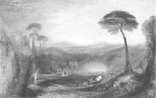 Italy Classical Landscape Temple Ruins Lake ~ 1851 Turner Art Print Engraving