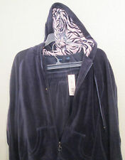 Navy Gray Velour Hoodie Pant Suit Size Medium M by Westbound 2 PC Sweat Suit NWT