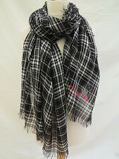 NEW!COACH Shirting Plaid Oblong Scarf White/Black RRP£135 -STUNNING slightsecond