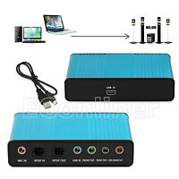 USB External Sound Card Optical 6 Channel 5.1 S/PDIF Audio For PC Netbook Mac