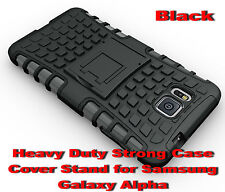 For Samsung Galaxy Alpha Black Heavy Duty Strong Protective Case Cover Stand