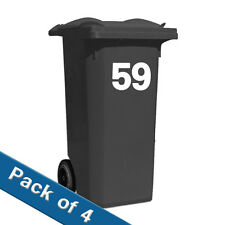 4 X Recycling Wheelie BIN NUMBERS 4 SETS VINYL STICKERS CUSTOM MADE HOUSE NUMBER