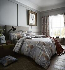 STAG HEADS PATCHWORK TARTAN PLAID GREY BROWN COTTON BLEND KING SIZE DUVET COVER