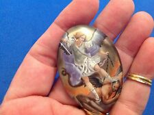 "ARCHANGEL St MICHAEL Saint GLASS Dome MAGNET Protection 2"" tall"