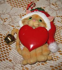 Cat with Heart and Santa Hat Ornament by Kurt Adler Designs- You Can Personalize