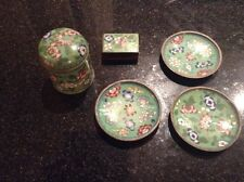 Vintage Cloisonne green Cigarette Box Match Box Holder Ashtray Set China 1930's