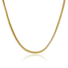 Cool 24K Gold Plated Cubic Square Chain Men Women Necklace 2MM 18inch GJP076