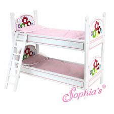 "Sophia's WHITE BUNK BED W/ PAINTED FLOWERS, LADDER & BEDDING for 18"" Dolls NEW"
