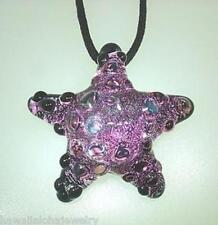 Lampwork Dichroic Color Glass Hawaiian Textured Starfish Pendant Adjustable #4