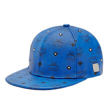 "MCM Unisex ""Gold Stud"" Mazarine Blue Visetos Adjustable Hat Sz S 57 CM"