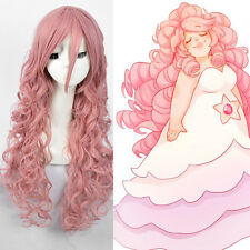 Steven Universe Rose Quartz Cosplay Wig Long Pink Curly Hair Full Wigs + A Cap