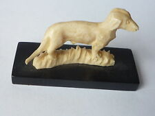 Old Chinese Bone Carved Small Dog Figure Statue on Wooden Stand