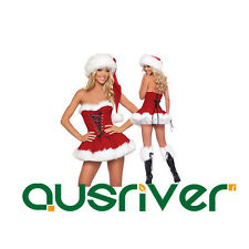 Adult Lady Women Lace Up Sexy Christmas Xmas Santa Bustier + Skirt + Hat Costume