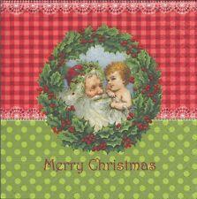 2 Serviettes en papier Père Noël Couronne de Houx - Paper Napkins Christmas Eve
