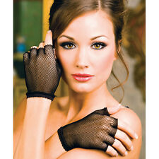 Black Fishnet Wrist Length Fingerless Warmer Gloves ML401
